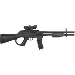 UK Arms Spring Pump-Action Airsoft Shotgun w/ Red Dot Sight - BLACK
