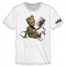 BioWorld Men's Guardians of the Galaxy Baby Groot T-Shirt - WHITE