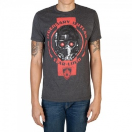BioWorld Men's Guardians of the Galaxy Outlaw Star Lord T-Shirt - GRAY