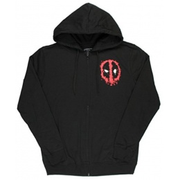 BioWorld Deadpool Splatter Logo Zip Up Hoodie - X-Large - BLACK