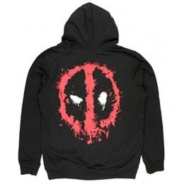 BioWorld Deadpool Splatter Logo Zip Up Hoodie - X-Large - BLACK