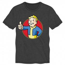 Bioworld Men's Vault Boy Thumbs Up Slim Fit T-Shirt - GRAY