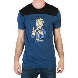 BioWorld Men's Fallout Charisma Yoke T-Shirt - BLUE/BLACK