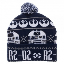 BioWorld Star Wars R2D2 Acrylic Blend Cuff Pom Beanie - BLUE/WHITE