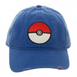 BioWorld Cotton Twill Pokemon Pokeball Strapback Dad Hat - BLUE