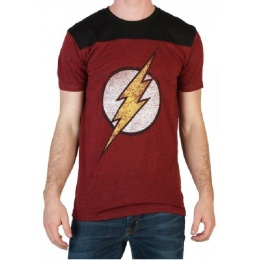 Bioworld DC Comics Flash Men's Yoke Tee - RED/BLACK