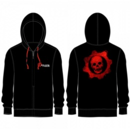 BioWorld Gears of War Logo Zip-Up Hoodie Sweatshirt - BLACK
