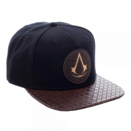 BioWorld Acrylic Wool Assassins Creed Logo PU Bill Snapback - BLACK