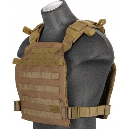 Lancer Tactical Nylon QR Lightweight Plate Carrier - KHAKI