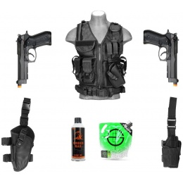 AMS Gas Pistol Kit: 2X HFC M9 Pistols + LT Cross Vest + 2X Holsters