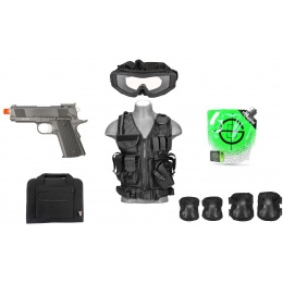 AMS Gas Pistol Kit: 1X WELL Gas Pistol + 1X LT Vest + 1X Pistol Bag
