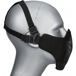 WoSport Low Carbon Steel Mesh Nylon Lower Face Mask - BLACK