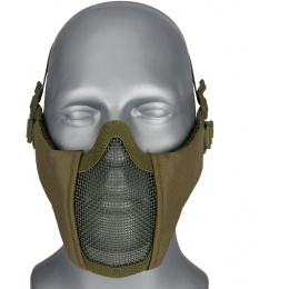 WoSport Low Carbon Steel Mesh Nylon Lower Face Mask - OLIVE DRAB