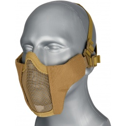 WoSport Low Carbon Steel Mesh Nylon Lower Face Mask - TAN