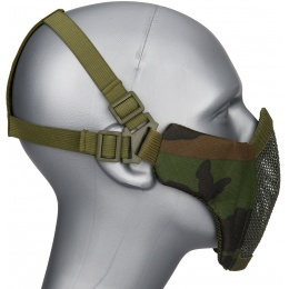 WoSport Low Carbon Steel Mesh Nylon Lower Face Mask - WOODLAND