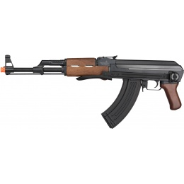 Lancer Tactical AK47 AEG Airsoft Rifle w/ Folding Stock [w/ Battery & Charger] - BLACK/WOOD