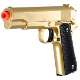 UK Arms Airsoft 1911 Metal Spring Powered Pistol - GOLD