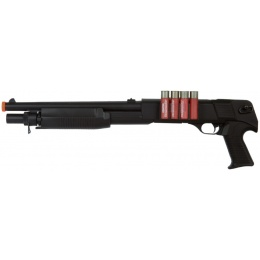 AGM Airsoft M500 Pump Action Shotgun w/ 4 Bullet Shells - BLACK