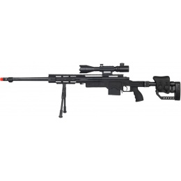 WellFire MB4411D Bolt Sniper Rifle w/ Illuminated Scope & Bipod - BLACK