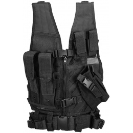 Lancer Tactical Nylon Crossdraw Vest Youth Size w/ Pistol Holster - BLACK
