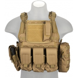 Lancer Tactical 1000D Nylon Tactical Assault Plate Carrier - TAN