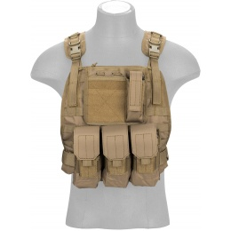 Lancer Tactical 1000D Nylon MOLLE Plate Carrier w/ Pouch System - TAN