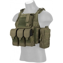 Lancer Tactical 600D Nylon Tactical Assault Plate Carrier - OD GREEN