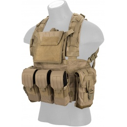 Lancer Tactical 600D Nylon M4 MOLLE Modular Chest Rig - TAN