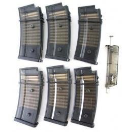 6X SRC Airsoft 50rd R36 / G36C Low Cap Magazines w/ Speedloader
