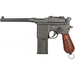 Gletcher M712 WWII Classic Full Auto Metal Airgun Pistol - BLACK/WOOD