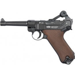 Gletcher P08 Luger Full Metal WWI CO2 Blowback Airgun Pistol - CHARCOAL GRAY