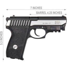 Gletcher SS P232L CO2 Blowback Integrated Laser Airgun Pistol - BLACK/SILVER