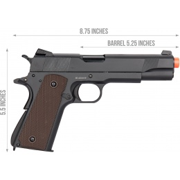 Double Bell M1911 GBB Airsoft Pistol Type 2 (Low Velocity) - BLACK