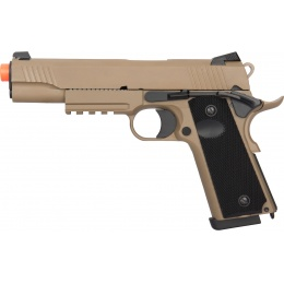 Double Bell M1911 Tactical GBB Airsoft Pistol (High Velocity) - TAN
