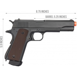 Double Bell M1911 CO2 Blowback Airsoft Pistol (400+ FPS) - BLACK