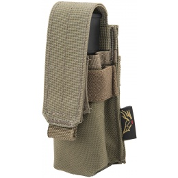 Flyye Industries MOLLE Single 9mm Pistol Magazine Pouch - RANGE GREEN