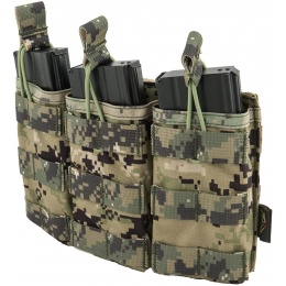 Flyye Industries Universal Triple M4/M16 Bungee Magazine Pouch - WOODLAND DIGITAL