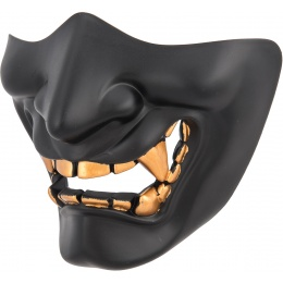 WoSport Yokai Ogre Half Face Mask w/ Soft Padding - BLACK/GOLD