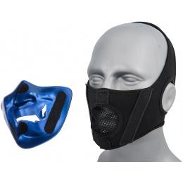 WoSport Yokai Ogre Half Face Mask w/ Soft Padding - BLUE/GOLD