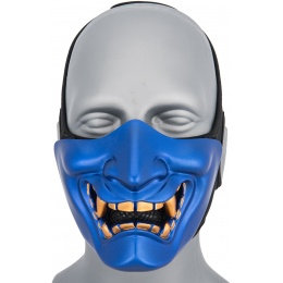 WoSport Yokai Ogre Half Face Mask w/ Soft Padding - BLUE/GOLD