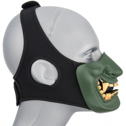 WoSport Yokai Ogre Half Face Mask w/ Soft Padding - GREEN/GOLD