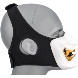WoSport Yokai Ogre Half Face Mask w/ Soft Padding - WHITE/GOLD