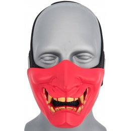 WoSport Yokai Ogre Half Face Mask w/ Soft Padding - RED/GOLD