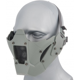 WoSport Adjustable Retro Mecha Half Face Mask - GRAY