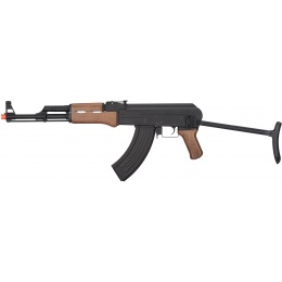 JG Full Metal AK-47 Faux Wood Metal Gearbox AEG Rifle - BLACK