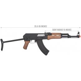 JG Full Metal AK-47 Faux Wood Metal Gearbox AEG Rifle - BLACK