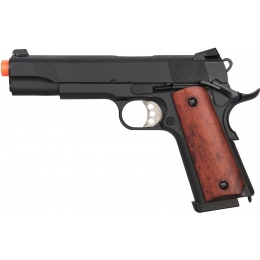 Double Bell Gas Blowback Wood Grip Metal MEU Airsoft Pistol - BLACK