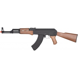 JG Full Metal AK-47 Full Stock Faux Wood AEG Rifle - BLACK
