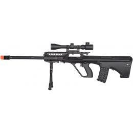 JG Quad RIS AUG JG0446A Marksman Airsoft AEG Rifle - BLACK