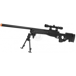 AGM MK96 Bolt Action Airsoft Sniper Rifle w/ Scope and Bipod - BLACK